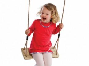 Schommelzitje van geïmpregneerd grenenhout met kindvriendelijk PH-touw en RVS-schroeven