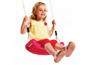 Roze Schommelzitje voor meisjes, met kindvriendelijk schommeltouw; mag ook voor jongens ;)