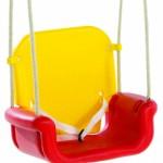 Babyschommel zitje wat meegroeit met de baby, kleuren Rood-Geel-Blauw