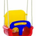 Babyschommel? Kleurig babyzitje als schommel voor uw baby, kleur: Rood-Geel-Blauw