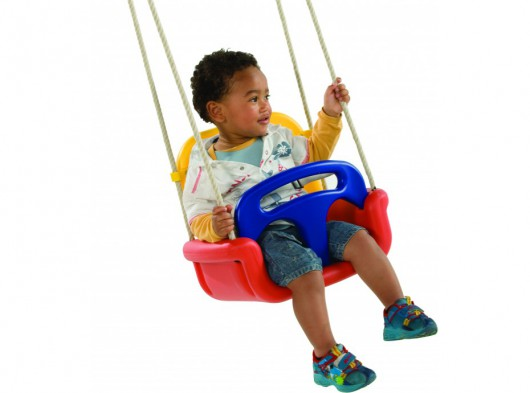 Babyschommelzitje meegroeimodel, rood-geel-blauw