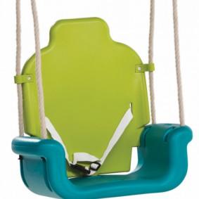 Babyschommelzitje van stevig kunststof, Limoen-Turquoise-Oranje