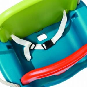 Meegroei Babyschommelzitje met veiligheidsriem en afneembaar T-stuk, Limoen-Turquoise-Oranje