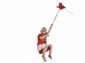 Kabelbaan rood met schotelschommel