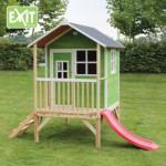 Speelhuisje EXIT Loft 300 groen - speelhuis met glijbaan
