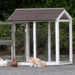 Aanbouwren konijnenhok met grote deuren