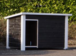 Hondenhok Wolf zwart/wit, praktisch hok voor uw hond met een scharnierend dak
