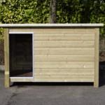 Groot hondenhok, model Loebas: geïmpregneerd vurenhout en betonplex, afm. 195x127x122cm