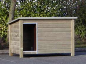Groot hondenhok Loebas! Geïsoleerd, geïmpregneerd hout, scharnierend dak, betonplex vloer. Een groot, sterk en stevig hok voor een grote hond!