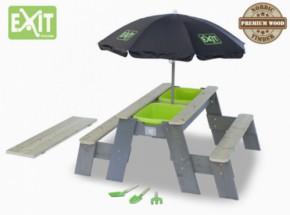 EXIT Aksent Zand-, Water- en Picknicktafel met Parasol en kinder tuingereedschap