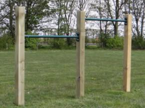 Dubbel turnrek Groen - met 3 palen 90 & 125 cm