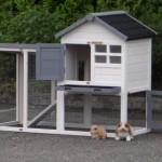 Konijnenhok Advance wit-grijs is een mooi konijnenhok met schuiflade, buitenren en diverse deurtjes.