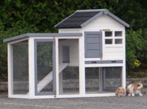 Konijnenhok Advance wit-grijs 122x62x93cm, een leuk konijnenhokje voor 2 kleine konijntjes.