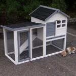 Konijnenhok Advance wit-grijs is een goedkoop konijnenhok voor buiten.