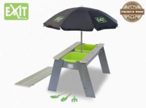 Exit Aksent Zand- en Watertafel L met parasol en kinder tuingereedschap