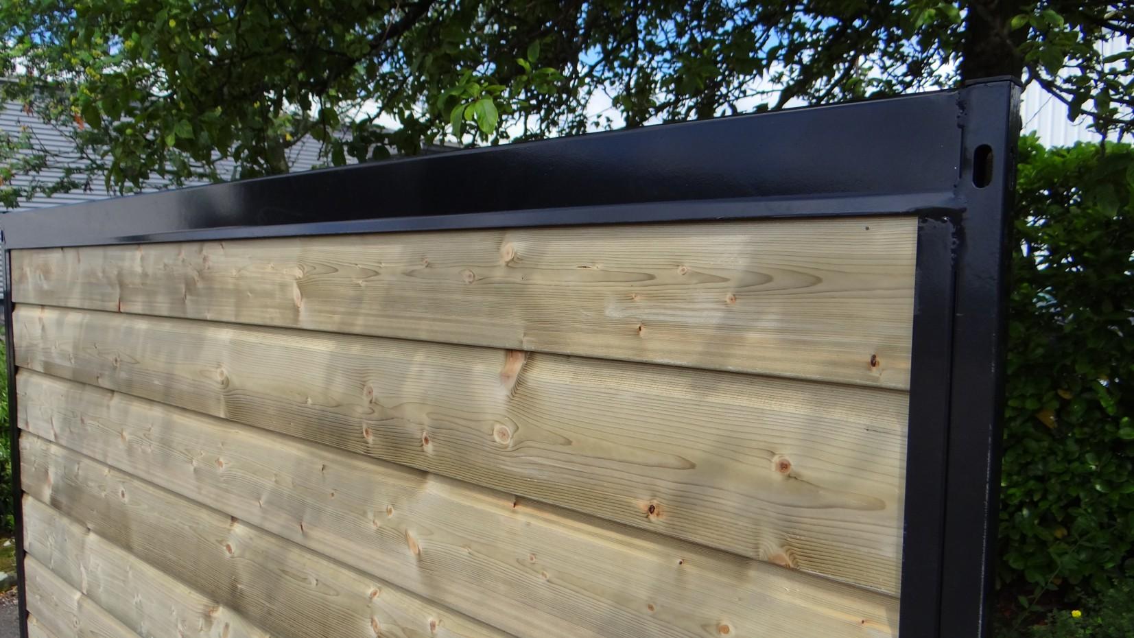 Kennelpaneel zwart met hout 200x184 cm for Zwart hout ladeblok