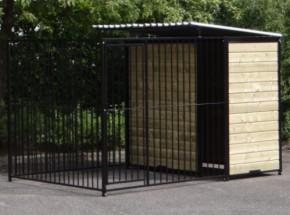 Hondenkennel Fix Zwart 2x3 met half dak