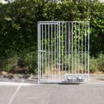 Gegalvaniseerd kennelpaneel met deur en draaibaar voedersysteem 150x183cm