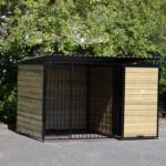 Hondenren FORZ Zwart met geisoleerd nachthok en vlonder 2x3m