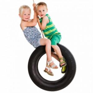 Autobandschommel verticaal, schommel pret voor 2 kinderen op deze bandenschommel!