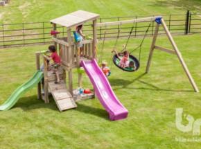 Speeltoestel Blue Rabbit Cascade hoog met glijbanen en schommel-aanbouw
