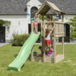 Speeltoren Blue Rabbit Pagoda laag met glijbaan Luxe houtpakket, gratis gezaagd