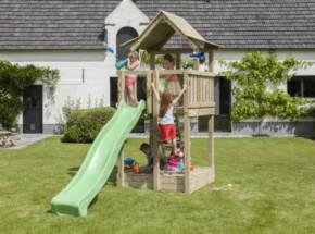 Speeltoren Blue Rabbit Pagoda hoog met glijbaan Luxe houtpakket, gratis gezaagd