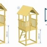 Buitenspeelgoed van hout, de mooie speeltoren Kiosk van Blue Rabbit (schematisch overzicht)