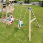 Speeltuin in eigen tuin? Speeltoestel voor buiten met glijbanen en schommel: Blue Rabbit Cascade laag