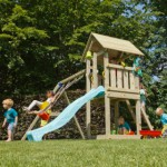 Speeltuin Blue Rabbit Kiosk hoog met schommel en glijbaan