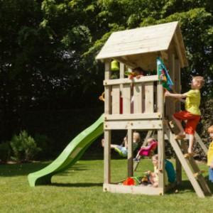 Speeltuin Blue Rabbit Kiosk hoog met aanbouwschommel en glijbaan