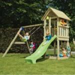Speeltoestel Blue Rabbit Kiosk hoog met schommel-aanbouw en glijbaan