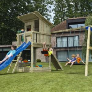 Speeltoestel Blue Rabbit Beach Hut met schommel-aanbouw en glijbaan
