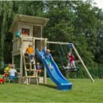 Speeltoestel Blue Rabbit Beach Hut hoog met schommel-aanbouw en glijbaan