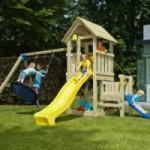 Speeltoestel Blue Rabbit Kiosk hoog met aanbouwelementen en 2 glijbanen