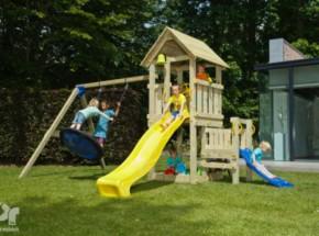 Speeltoestel Blue Rabbit Kiosk laag met aanbouwelementen en 2 glijbanen