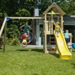 Speeltuin Blue Rabbit Kiosk laag met aanbouwelementen en 2 glijbanen