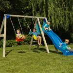 Houten speelgoed voor buiten Blue Rabbit 2.0 Deckswing: schommel met glijbaan