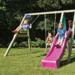 Houten buitenspeelgoed: Goed schommelende schommel met gladde glijbaan! De Deckswing met glijbaan.