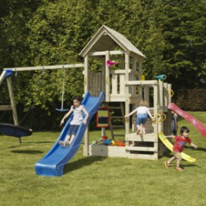 Houten speeltoestel Penthouse met glijbanen en schommel (Blue Rabbit)