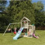 Speeltoestel Blue Rabbit Penthouse met schommel-aanbouw en 2 glijbanen