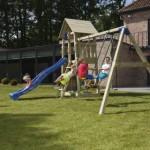 Speeltoestel Blue Rabbit Belvedere laag met schommel-aanbouw en glijbaan