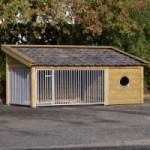 Groot hondenhok, wat ook als hondenren of hondenkennel gebruikt kan worden. Rex 2 met afm. 346x191x163cm