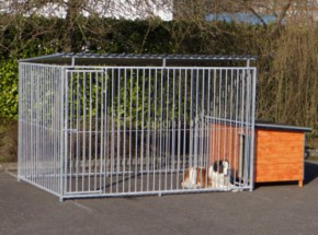 Hondenkennel FLINQ met dak en geisoleerd nachthok 200x407 cm
