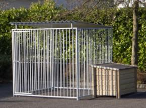 Hondenkennel FLINQ met dak en geimpregneerd hondenhok 2x2m