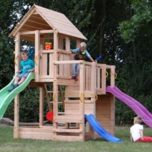 Speeltoren van douglas-hout, Blue Rabbit Penthouse, met 2 glijbanen