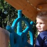 Speeltoestel hout met glijbanen, Penthouse Douglas-hout: Ja, tikkeltje naar rechts stuuruhhh!
