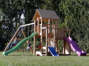 Speeltoren Blue Rabbit Penthouse Douglas met 2 glijbanen en schommelaanbouw