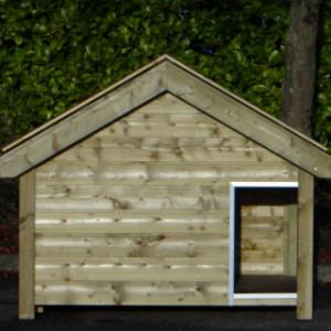 Hondenhok Snuf met oranje of blauw gesmoorde dakpannen, geimpregneerd vurenhout 176x126x140cm