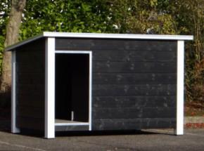 Hondenhok Loebas Zwart/wit Geisoleerd met vloerverwarming 195x127x122 cm